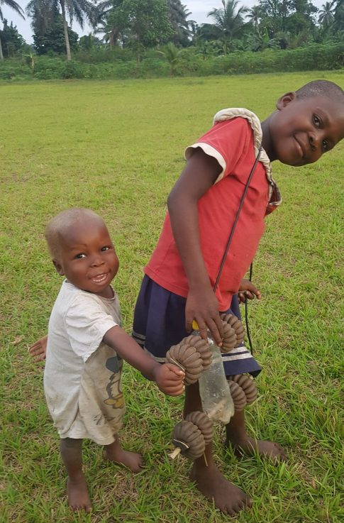 two childs with toy